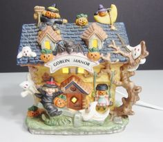 Hand Painted Lighted Porcelain Halloween Goblin Manor House No Figurines Spooky #unknown