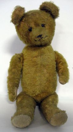 """What a sweet face! Ideal antique gold 15"""" jointed mohair teddy bear, ca 1920's.  American gold mohair with jointed body, original nose and mouth, hump on back, excelsior stuffed. Non working growler."""