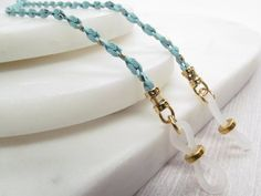 Turquoise and Gold Spectacles Chain Eyeglass Chain Reading Lanyard Necklace, Etsy Coupon, Reading Glasses, Metal Chain, Pretty Little, Eyeglasses, Turquoise, Face, Silver