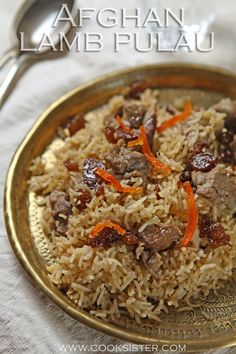 Afghani lamb pulao from Summers Under the Tamarind Tree - Cooksister Food, Travel, Pho. Afghan Food Recipes, Rice Recipes, Side Dish Recipes, Indian Food Recipes, Asian Recipes, Lamb Recipes, Oxtail Stew, Spiced Rice, Rice