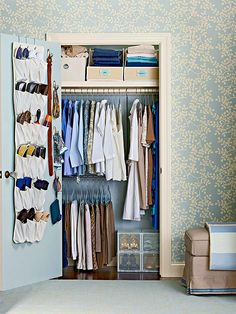 Add two levels of hanging bars for more closet storage! More ideas for an organized closet: http://www.bhg.com/decorating/closets/reach-in/clever-closets-around-the-house/?socsrc=bhgpin010314doubleclosetstorage&page=8
