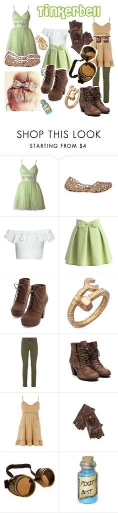 """""""Tinkerbell Disneybound"""" by galaxies-of-diamonds ❤ liked on Polyvore featuring Lipsy, Melissa, Chicwish, Blu Bijoux, J Brand, Alexander McQueen, claire's, disney, tinkerbell and disneybound"""
