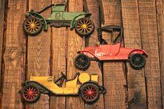 vintage wall decorating | Vintage 3 Piece Antique Classic Car Cast Iron Wall Decoration