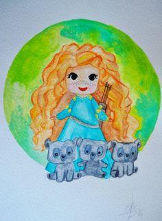 Brave Indomable / Dibujo original. Original Draw de Ateliartt en Etsy  #movie #draw #film #watercolor #disney #brave #disneyprincess #merida #princess