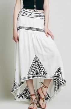 Free People Sweet Escape Skirt Embroidered Aztec Geometric Maxi 0 White Black  #FreePeople #Asymmetrical