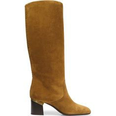 Lanvin - Suede Knee Boots ($608) ❤ liked on Polyvore featuring shoes, boots, camel, mid-heel shoes, camel knee high boots, suede boots, slip on boots and mid heel boots