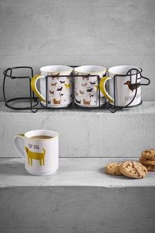 Perfect for dog lovers. This set of four dog-design mugs is made from porcelain with a dog-shaped stand to keep them need. 4 x Mug Porcelain. Coffee Cup Set, Coffee Mugs, Donut Shape, Paint Effects, Star Designs, Mugs Set, Dog Design, Dog Bed, Dog Bowls