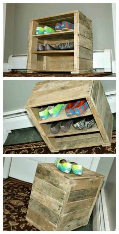 The potential outcomes of practical stuff and furniture out of bed wood are ceaseless. You can demand anything you can think of out of bed wood for a comfortable style on a financial plan like bed seats, couch casings, and tables. Today we have an outlined a DIY mini pallet shoe rack from... #PalletSeat, #PalletShoeRack, #RecycledPallet