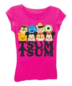 Look at this Disney Hot Pink Tsum Tsum 'Tsum Tsum' Character Faces Tee - Girls on #zulily today!