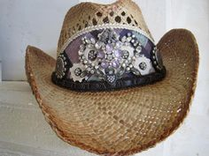 """""""Lovebirds"""" Embellished Cowboy Hat by Adora Fedora"""