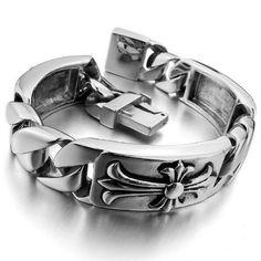 bracelets for men Fashion charm men's large heavy stainless steel bracelet watches silver black Celtic medieval cross biker