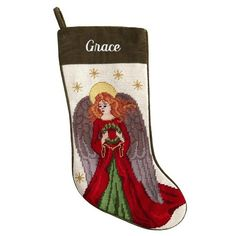 Personalized Needlepoint Stocking   Angel   Christmas Ornaments