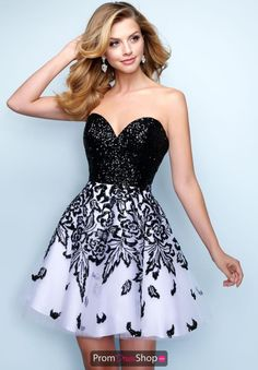 With a black sequined bodice and embellished skirt, this Splash homecoming style is fashion perfection. Tulle Dress, Strapless Dress Formal, Ivory Dresses, Girls Dresses, Divas, Short Frocks, Embellished Skirt, Prom Dress Shopping, Perfect Prom Dress