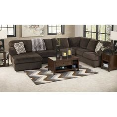 American Furniture Warehouse -- Virtual Store -- 367 334 316 EE1-398LC-3PC 3PC Chocolate Sectional w/LAF Chaise Ashley