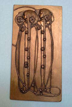 charles rennie mackintojsh style wall plaque/artdeco/art nouveau/ bronze or pewter effect