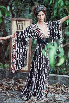 Long Kimono, Kimono Dress, Black Kimono, Dress Black, Maxis, Ethno Style, Goddess Dress, Kimono Fashion, Nomad Fashion