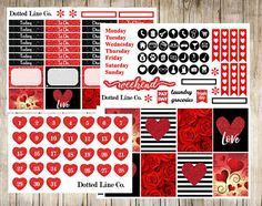 4c89aef34a07 Red and Black Glitter Valentines Planner Stickers