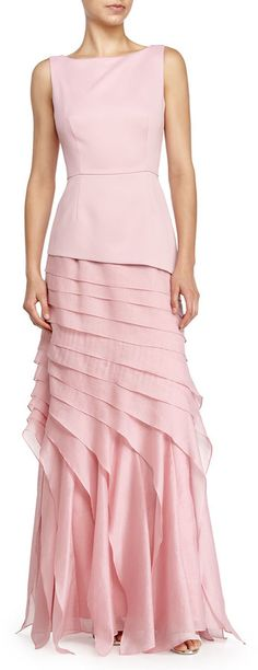 Halston Heritage Sleeveless Tiered Evening Gown, Cameo