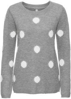 Dieser Pullover ist ein cooles Modell für etwas kältere Tage. Die großen Punkte machen den Pullover mit Rundhals-Ausschnitt und langen Ärmeln zu einem modischen Blickfang.