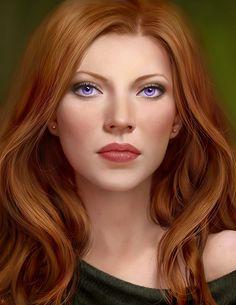 femme rousse yeux violets