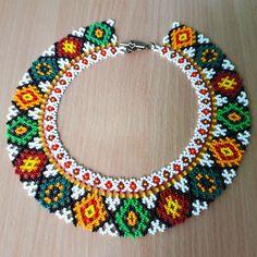 Traditional Ukrainian folk ethnic necklace for women Seed beaded necklace Handmade collar to vyshyvanka Geometric beaded choker in gift Diy Jewelry Necklace, Lace Necklace, Seed Bead Necklace, Beaded Jewelry, Handmade Jewelry, Beaded Bracelets, Ethnic Jewelry, Necklace Ideas, Necklace Tutorial