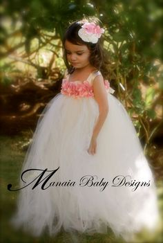 Flower Girl Tutu Dress / Ivory and Pink by ManaiaBabyDesigns, $88.00