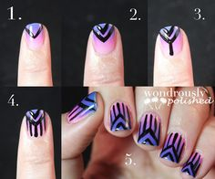 Wondrously Polished: Gradient and some free hand stripes!