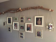 I love the distinction between rigid line and free form contours :) Using this fallen tree branch from our yard I created a way to display the kids school photos.