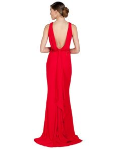 EG1252B Draped Back Loop Evening Gown by Badgely Mischka