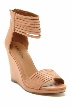 blush leather wedge
