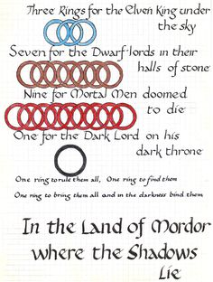 "Playing with my infatuation of ""Lord of the Rings"" by J. R. R. Tolkien."