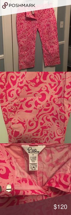Lilly Pulitzer-Front ZipCapris- cool spiral jungle Jungle Is A Bound!!! Cute pinks hide the jungle animals swirled throughout!!! Side pocket capris-No Younger than 1999- I'm sure earlier than then. As all of my pieces- they are pristine... worn only 2-3 times. Find my Lillies forever homes 🏡-as I've gained weight from being ill!!!💝😘💝 Lilly Pulitzer Pants Capris