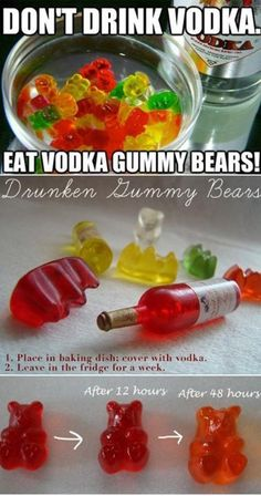 Gummies (Vodka-Infused Gummi Bears) Vodka gummy bears, so dangerous! The recipe also calls for added fruit juice which is genius thoVodka gummy bears, so dangerous! The recipe also calls for added fruit juice which is genius tho Alcohol Drink Recipes, Vodka Drinks, Party Drinks, Cocktail Drinks, Fun Drinks, Cocktails, Beverages, Sweet Alcoholic Drinks, Alcohol Shots