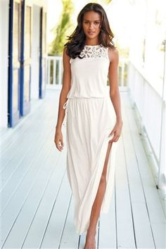 Maxi summer dresses with white top
