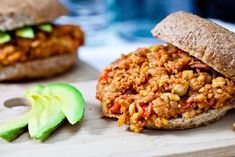 Sloppy Chicks (Chickpea Sloppy Joes) // 40 Minutes // Ingredients: Olive oil, Red onion, Garlic, minced, Red bell pepper, Chickpeas, Can of fire roasted tomatoes, Tomato paste, Bragg Liquid Aminos, Sriracha Sauce, Maple Syrup, Oregano, Cumin, Thyme, Paprika, Liquid smoke, Nutritional yeast (optional), Salt, Pepper, Hamburger buns