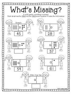 """Sample sheet from """"LET'S PRACTICE PLACE VALUE! {STUDENT WORKSHEETS FOR GRADES 1-2}""""  28 pages, $ - TeachersPayTeachers.com"""