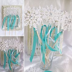 This snowflake wand is made with a 4 inch glittery plastic snowflake adorned with mirrored small jewel in the middle.The 12 inch wooden dowels are wrapped in double satin blue ribbon and silver mesh and white ribbon Perfect for your party princesses! Each wand measures approximately 14 inches tall. The snowflakes measure 4 inches in diameter. These wands should be used under adult supervision as they are not meant as toys. They make great centerpieces for you party, and can be sent home…