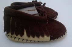 Taos Baby Moccasins 1 Tan Leather Chocolate Brown Suede Fringe Booties Authentic #Taos #Moccasins