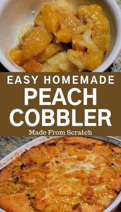 This easy homemade peach cobbler recipe is simple to make and is delicious. Perfect dessert for a busy weeknight dinner or as a make ahead desert to serve later. Serve it up hot with a scoop of vanilla ice cream. Easy Southern Peach Cobbler Recipe, Homemade Peach Cobbler, Fresh Peach Cobbler, Southern Recipes, Canned Peach Cobbler Recipe, Homemade Pie, Old Fashioned Peach Cobbler, 13 Desserts, Make Ahead Desserts