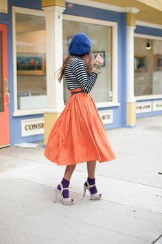 orange, purple, blue