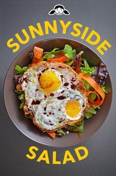 Sunnyside Salad (Crispy Fried Eggs on Greens) by Michelle Tam http://nomnompaleo.com