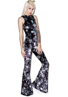 Jaded London Flared Mock Neck Catsuit