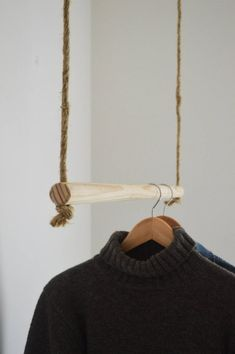 Handmade, natural wood, hanging rail - Hand made from natural pinewood rod! Creativity enabled with its use. Minimal Can be painted in seve - Hanging Rail, Diy Hanging, Hanging Clothes Racks, Diy Clothes Rail, Deco Boheme Chic, Diy Upcycling, Clothing Storage, My Room, Natural Wood