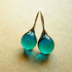 Teardrop earrings - glass and sterling silver by Knap on Etsy. £17.51.