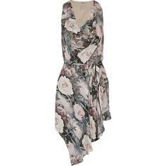 Haute Hippie Asymmetric printed silk-chiffon mini dress ($230) ❤ liked on Polyvore featuring dresses, baby pink, wraparound dress, slim fit dress, asymmetrical wrap dress, slimming dresses and wrap dress