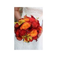 Wedding, Bouquet, Red, Orange, Wine country flowers - Project Wedding found on Polyvore
