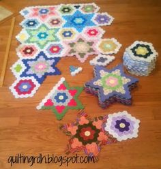 I finished two hexie half-stars this week. Last weekend I pushed all of the furniture out of the way, and vacuumed and mopped, whic. Hexagon Patchwork, Hexagon Pattern, Hexagon Quilt, Quilting Projects, Quilting Designs, Sewing Projects, English Paper Piecing, Paper Piecing Patterns, Quilt Patterns