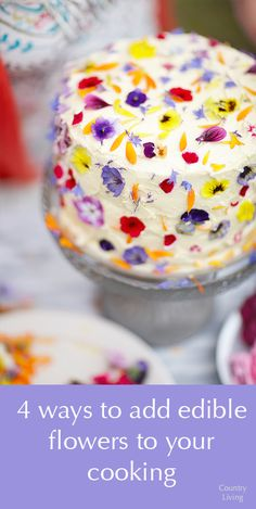 wedding food Jan Billington of Maddocks Farm Organics shares her knowledge and tips on cooking with edible flowers. From what flowers to avoid to what flavour pairings work best, these recipe ideas will certainly make your food more colourful. Edible Flowers Cake, Flower Cakes, Bolo Cake, Flower Food, Floral Cake, Snacks, Pavlova, Let Them Eat Cake, Cake Decorating