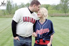 Indians fans engagement shoot with jerseys for baseball props