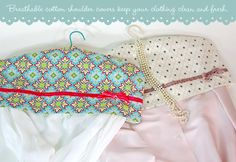 Dust covers for your hangers - better than plastic because the cotton fabric breathes. #tutorial #sewing